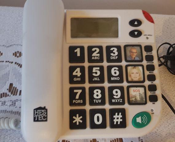 Telefon stacjonarny sos z pilotem dla seniora maxcom