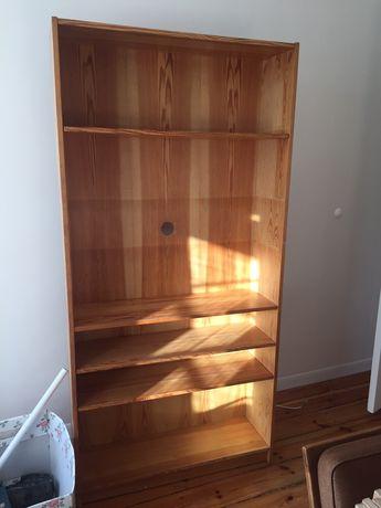 Drewniany regał na książki. Lite drewno, 185/90/27 antyk PRL