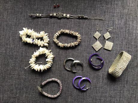Biżuteria kolczyki bransoletka cyrkonie komplet