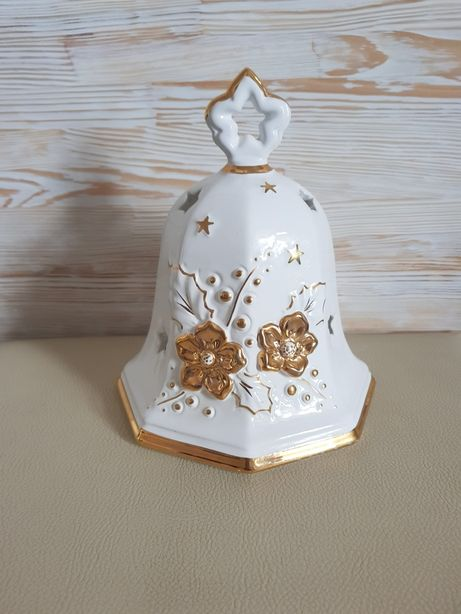Formano biało złoty porcelanowy lampion świąteczny dzwonek