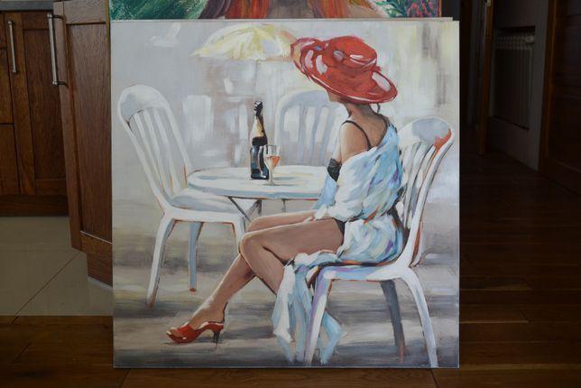 Obraz kobieta czerwony kapelusz