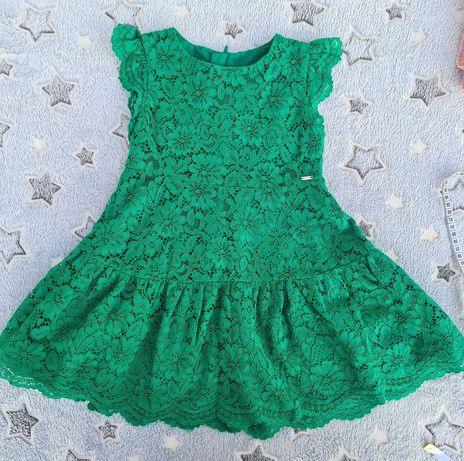 Sukienka wizytowa zielona, koronka mayoral 98/104  na wesele komunie