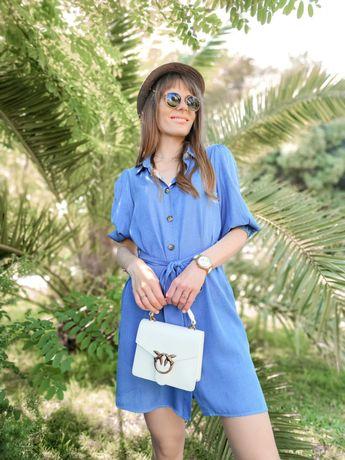 SALDOS   Vestido Azul Acetinado de Verão / Férias