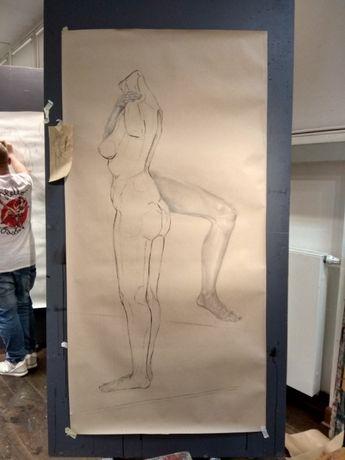 Rysunek kobieca męska postać martwa natura