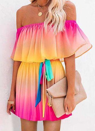 Kolorowa elegancka sukienka L