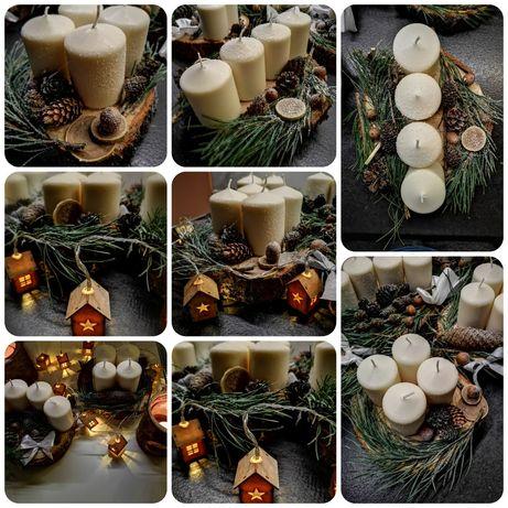 Stroiki świąteczne na plastrze drewna
