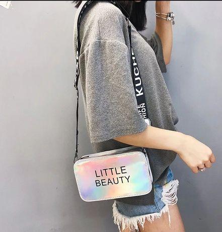 Mała torebka na ramię metaliczna Listonoszka