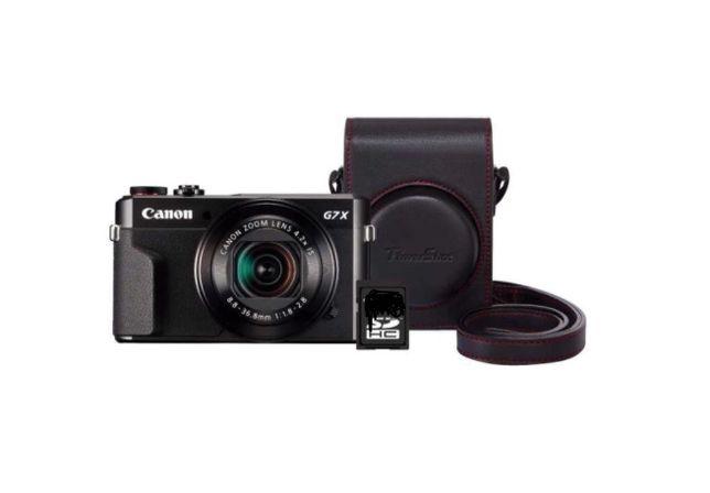 Câmara Canon PowerShot G7 X Mark II + Kit capa de pele e cartão memóri