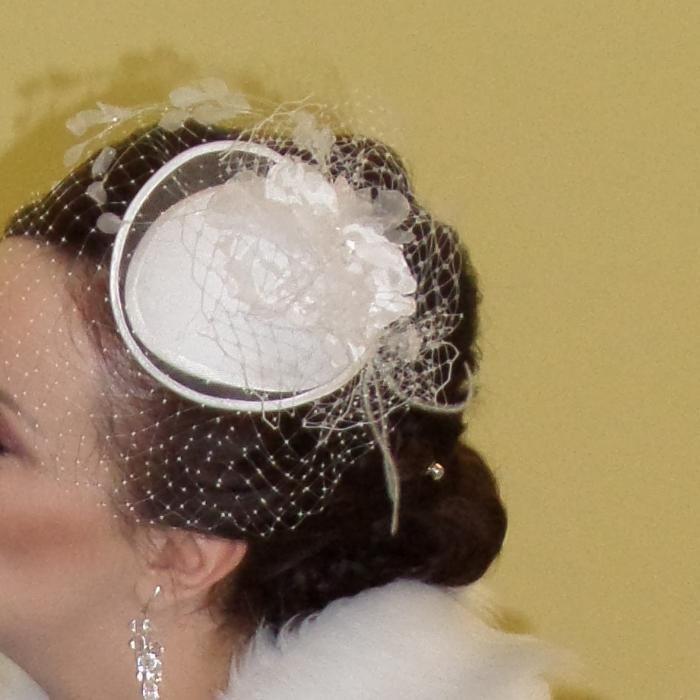 Zjawiskowy fascynator, toczek ślubny, ozdoba ślubna do włosów Olsztyn - image 1