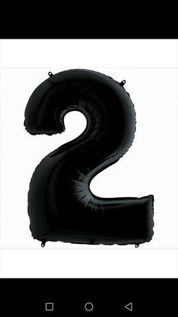 Шарик фольгированный цыфра 2 чёрный 70 см