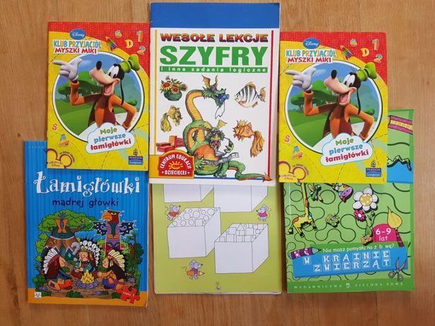 Zestaw łamigłówki zagadki kolorowanki książeczki dla dzieci 6 sztuk