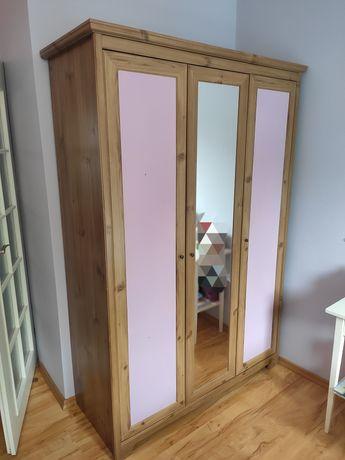 Szafa, IKEA, trzydrzwiowa  z lustrem, 126x52x190, drążek i półki