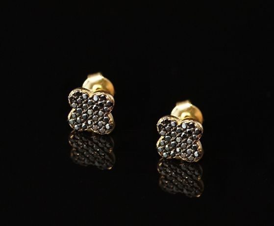Złoto 585 - złote kolczyki z cyrkoniami