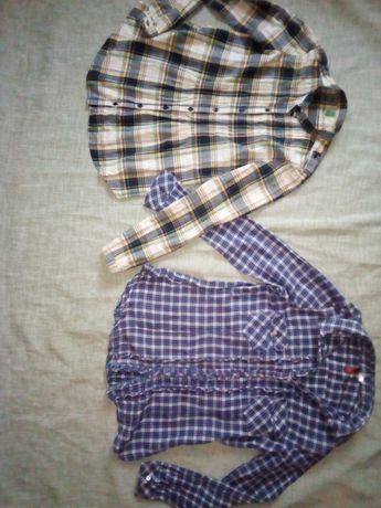 Рубашка клетка, блуза, кофта в школу и на каждый день 2 шт
