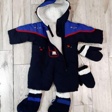 Комбинезон на овчине,зимняя куртка с шапкой
