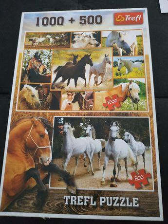 Puzzle Trefl 1000 + 500 konie