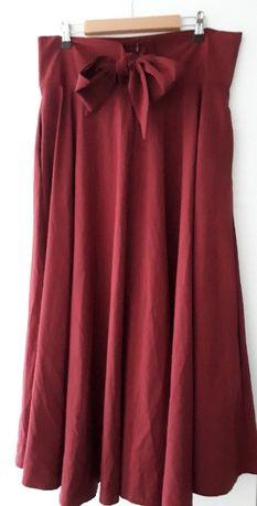 Rozkloszowana bordowa spódnica z ozdobną kokardą 42/XL