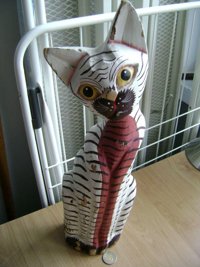 Starocie z PRL - Kot po przejściach = figurka przedwojenna z drewna Rumia - image 1