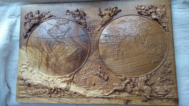 Mapa Świat Starożytny Glob Ziemia Gabinet Prezent Luwr Unikat