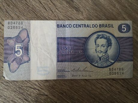 Nota de 5 cruzeiros - banco Central do Brasil