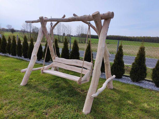 Huśtawka ogrodowa drewniana dębowa