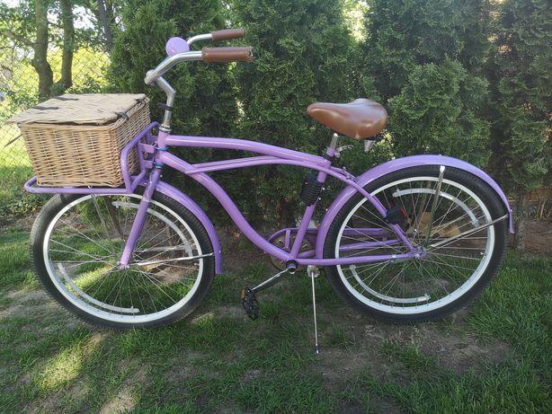 Miejski Rower damski cruiser - damka - duży koszyk oryginalny wygodny