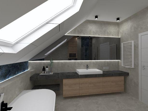 PROMOCJA 400 zł projekt łazienki! Projektowanie wnętrz wizualizacje!