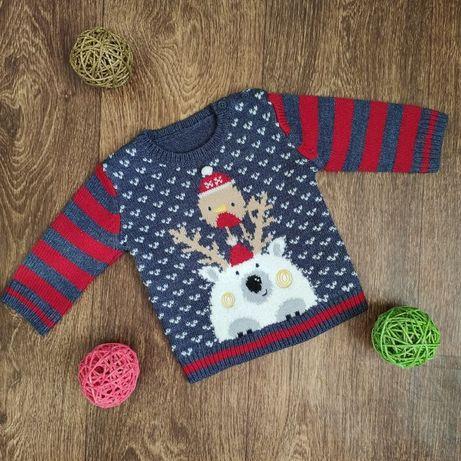 Новогодняя кофта свитер George 3-6, 6-9 мес 62-68