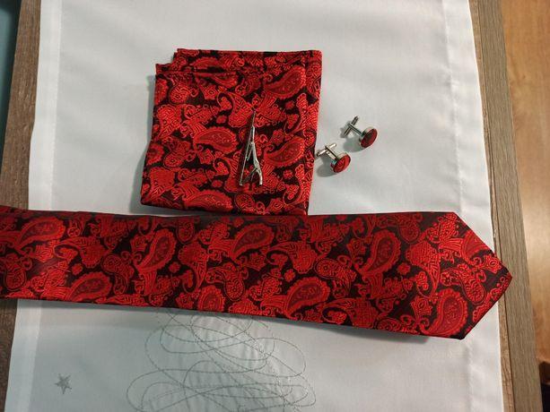 Piekny jedwabny krawat poszetka spinki do mankietów  spinka do krawata