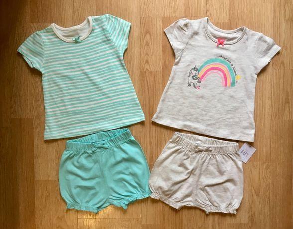 Костюм, набор для девочки, футболка и шорты George, р. 68-74