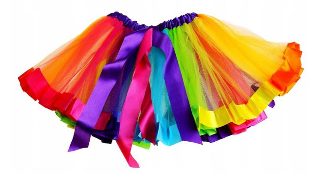 Saia arco-íris, colorida, unicórnio, carnaval, festa