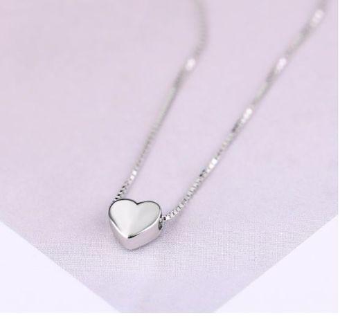 Посеребренная цепочка с подвеской сердце ( покрытие серебром 925 пробы