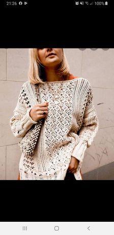 Zara sweter z dzianiny strukturalnej