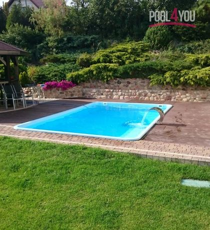 Basen ogrodowy kąpielowy poliestrowy gotowy 6,2x3,7x1,55 PRODUCENT