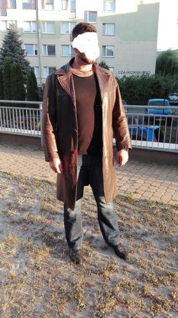 OKAZJA !Jak nowy skórzany płaszcz,prawdziwa skóra!