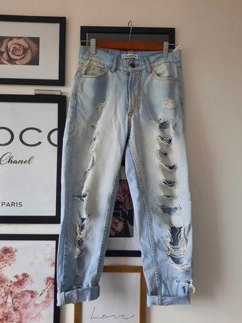 Spodnie mom jeans dżinsy jasne pull&bear S