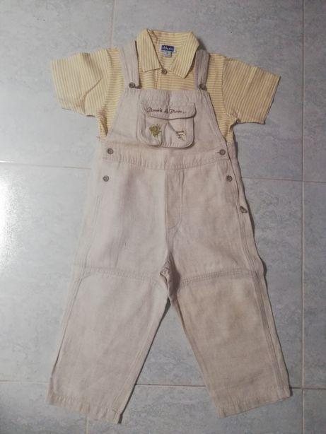 Jardineiras menino + pólo da marca chicco - 2 anos