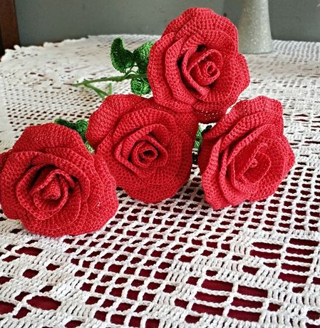Róża szydełkowa, prezent, walentynki, dzień kobiet, dzień matki itp