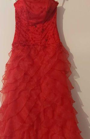 Sukienka czerwona ślubna z falbanami hiszpanka  teatr wesele bal