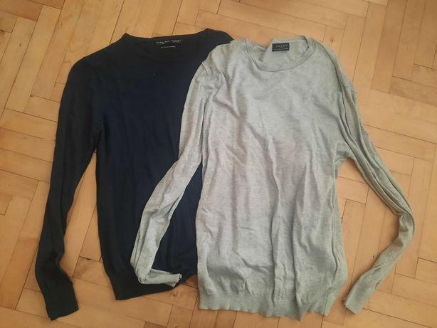 Zara man 40 L dwa sweterki szary granatowy