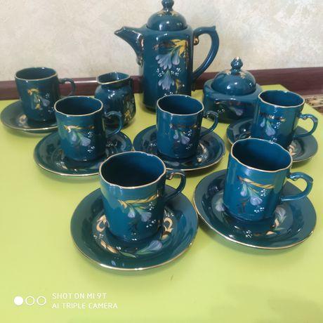 Красивый фарфоровый кофейный сервиз / Малахит золото/Коростень