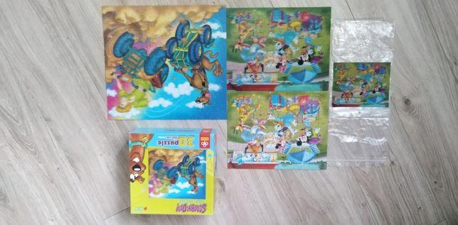 Puzzle, 3D, scooby doo, myszka Miki, zestaw