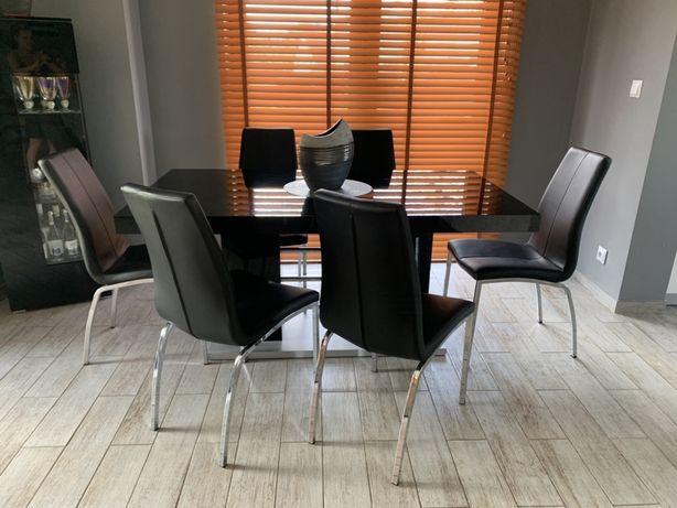 Zestaw Stół czarny na połysk 160/220/95 plus krzesla