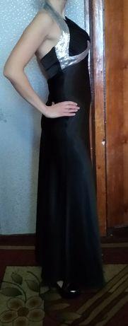 Платье вечернее,выпускное черное в пол с пайетками новое!!!