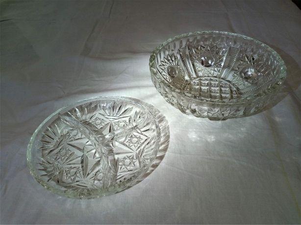 Хрустальные салатница и соусница диаметром 17 и 20 см