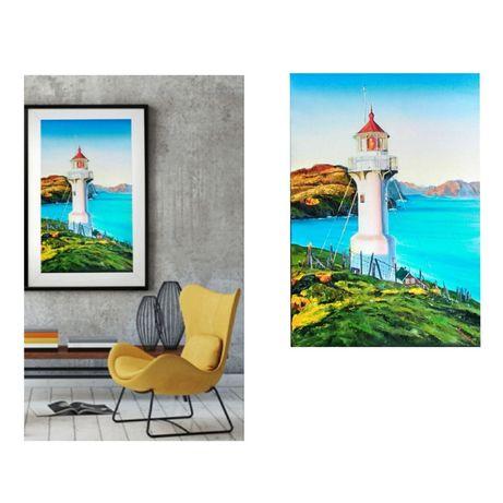 Картина маслом, маяк, морской пейзаж.