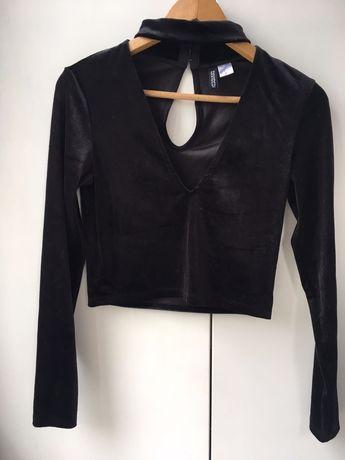 Welurowa aksamitna bluzka czoker rozmiar S H&M