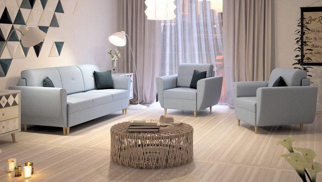 Zestaw HALDEN 3+1+1 fotel kanapa funkcja spania Szybka Realizacja hit