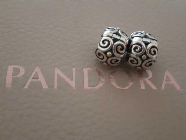 Par de travões originais Pandora prata e ouro, descontinuados e raros