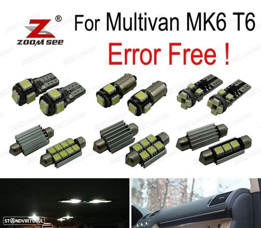 KIT COMPLETO DE 17 LÂMPADAS LED INTERIOR PARA VOLKSWAGEN MULTIVAN MK6 T6 2016 + + + .